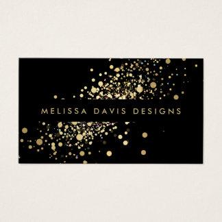 Confettis d'or de Faux sur le carte de visite