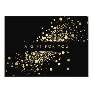 Confettis d'or de Faux sur le certificat-prime Carton D'invitation 11,43 Cm X 15,87 Cm