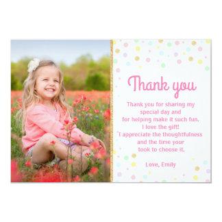 Confettis d'or de rose de carte photo de Merci