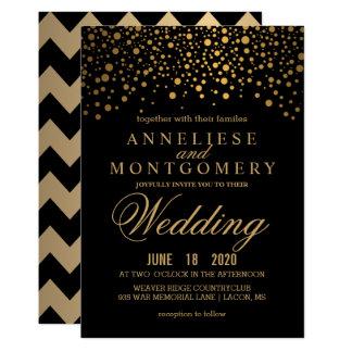 Confettis d'or et faire-part de mariage noir