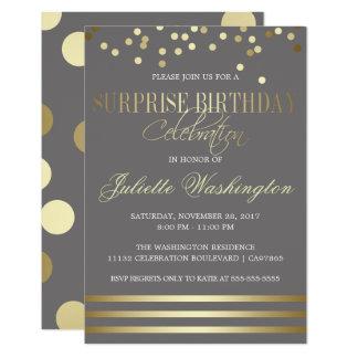 Confettis d'or et fête d'anniversaire de surprise carton d'invitation 8,89 cm x 12,70 cm