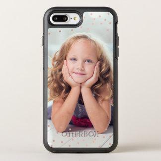 Confettis d'or et photo roses de coutume coque otterbox symmetry pour iPhone 7 plus
