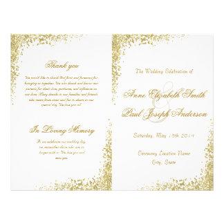 Confettis d'or et programme plié par scintillement prospectus 21,6 cm x 24,94 cm