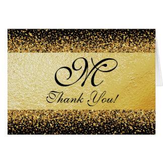 Confettis d'or sur le carte de remerciements Noir