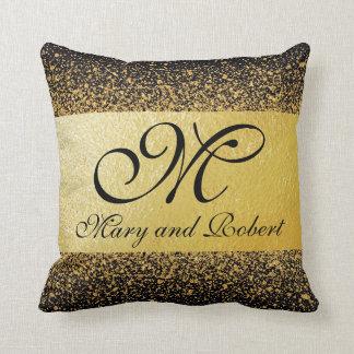 Confettis élégants d'or - coussin de mariage