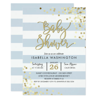 Confettis élégants d'or du baby shower | et carton d'invitation  12,7 cm x 17,78 cm