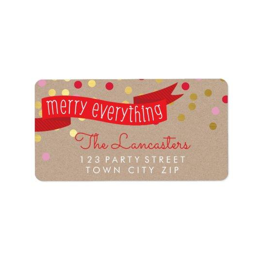 Confettis élégants papier d'emballage d'or de étiquette d'adresse