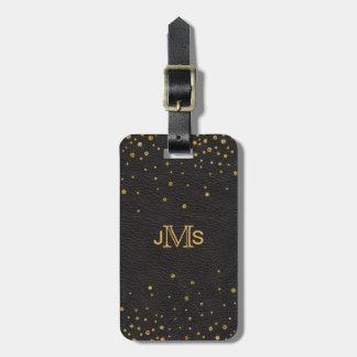 Confettis en cuir noirs d'or des initiales | de étiquette pour bagages