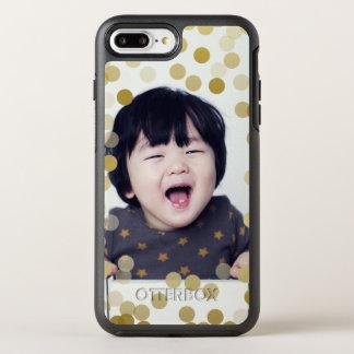Confettis faits sur commande de photo et d'or de coque otterbox symmetry pour iPhone 7 plus