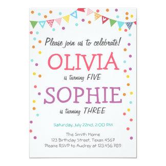 Confettis jumeaux communs d'invitation de fête carton d'invitation  12,7 cm x 17,78 cm