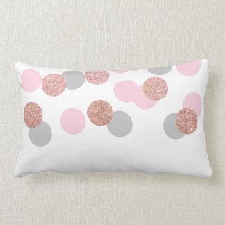 confettis roses élégants de rose en pastel de coussin rectangle