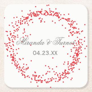 Confettis rouges - dessous de verre faits sur dessous-de-verre carré en papier