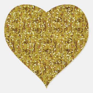 Confettis scintillants de paillette d'or de Faux Sticker Cœur