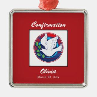 Confirmation, colombe colorée, cadeau carré ornement carré argenté