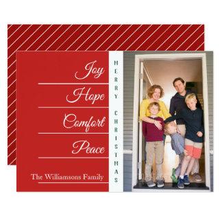 Confort d'espoir de joie - carte plate de Noël |