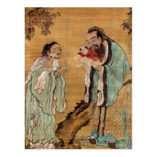 Confucius présent Bouddha à Laozi Carte Postale
