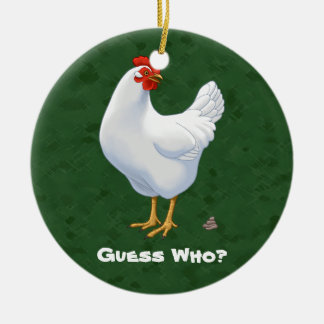 Conjecture drôle qui poule de blanc de Poo de Ornement Rond En Céramique