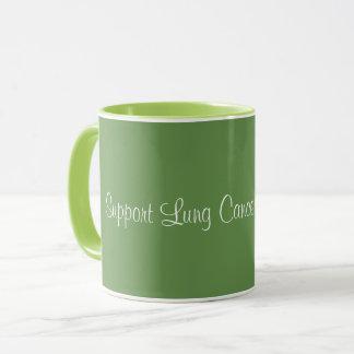 Conscience de cancer de poumon de soutien - tasse