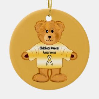 Conscience de Cancer d'enfance avec l'ours de Ornement Rond En Céramique