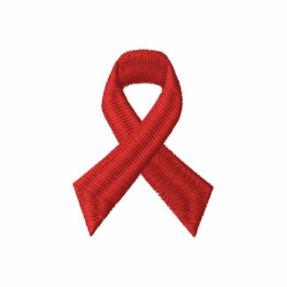 Conscience de SIDA d HIV - RUBAN ROUGE BRODÉ Polos