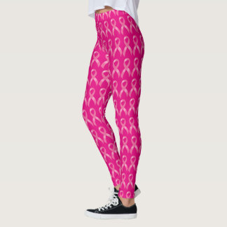 Conscience rose de cancer du sein de ruban leggings