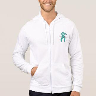Conscience turquoise de soutien de ruban veste à capuche