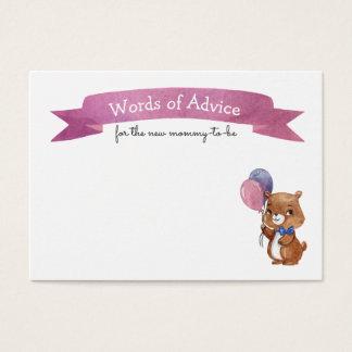 CONSEIL de MAMAN de baby shower d'ours de bébé Cartes De Visite