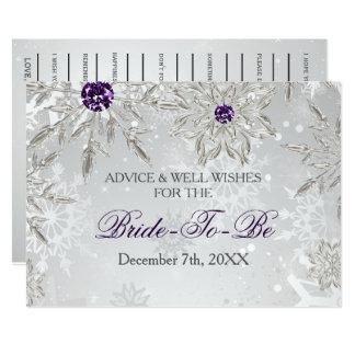 conseil nuptiale argenté de douche et carte de carton d'invitation  12,7 cm x 17,78 cm