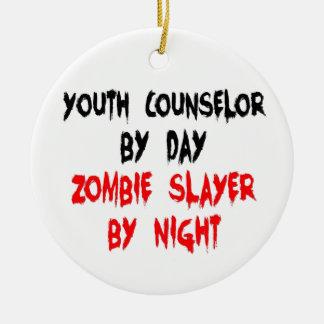 Conseiller de la jeunesse de tueur de zombi ornement rond en céramique
