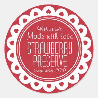 Conserve de fraise ou étiquette ronde de sticker rond