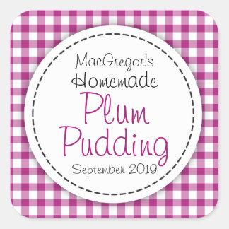 Conserve de pudding de prune ou étiquette ronde de sticker carré