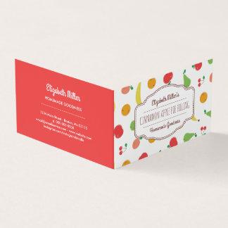 Conserves de fruit frais et étiquette à la maison carte de visite