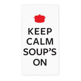 Conservez la soupe calme dessus étiquette d'expédition