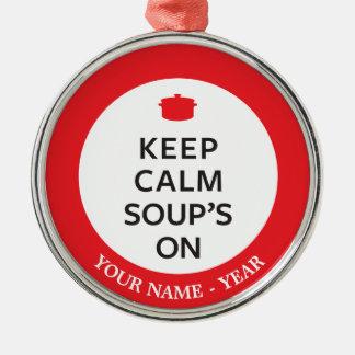 Conservez la soupe calme dessus ornement rond argenté