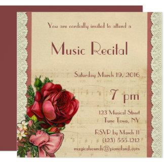 Considérant floral vintage de musique de dentelle carton d'invitation  13,33 cm