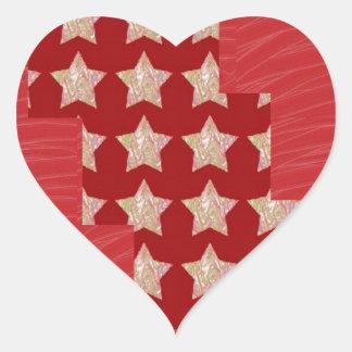 Constellation de GOLDSTAR sur le motif rouge Sticker Cœur