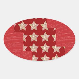 Constellation de GOLDSTAR sur le motif rouge Sticker Ovale