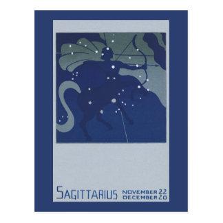 Constellation vintage de Sagittaire d'astrologie Carte Postale