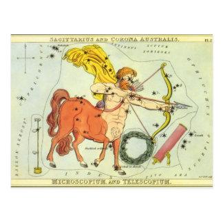 Constellation vintage de Sagittaire d'astrologie Cartes Postales