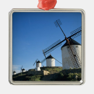 Consuegra, La Mancha, Espagne, moulins à vent 2 Ornement Carré Argenté