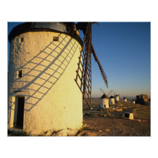 Consuegra, La Mancha, Espagne, moulins à vent et Affiche