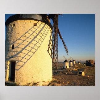 Consuegra, La Mancha, Espagne, moulins à vent et Poster