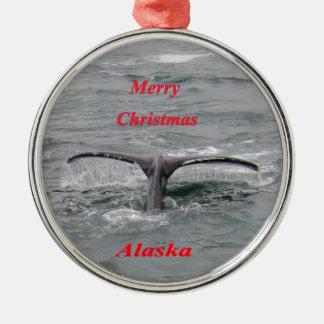 Conte de baleine ornement rond argenté