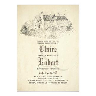 Conte de fées - mariage vintage de vieux château carton d'invitation  12,7 cm x 17,78 cm