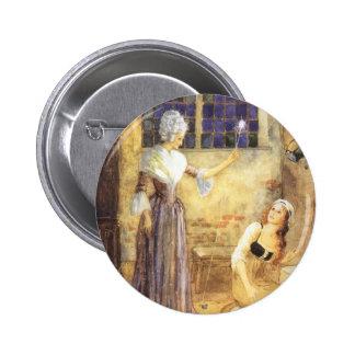 Conte de fées vintage, Cendrillon et marraine Badge Rond 5 Cm