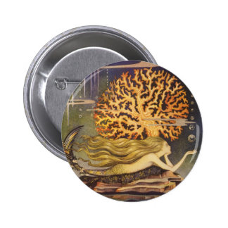Conte de fées vintage, petite sirène dans le badge rond 5 cm