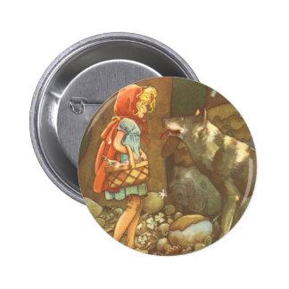 Conte de fées vintage, peu de capuchon rouge badge rond 5 cm
