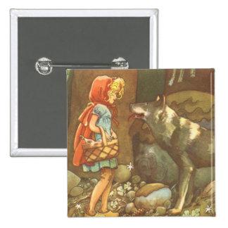 Conte de fées vintage, peu de capuchon rouge badges