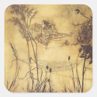 Conte de fées vintage, Tightrope de la fée par Sticker Carré