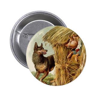 Conte de fées vintage, trois petits porcs et loup badge